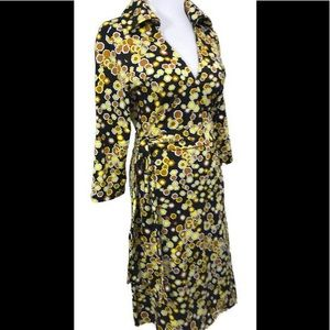 Tracy Negoshian Brown Yellow Honeycomb Wrap Dress